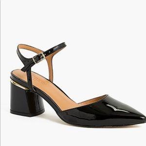J. Crew Black Patent Chunky Heel Slingback Shoes
